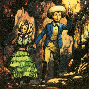 Tom Sawyer lost in a cave with Becky Thatcher