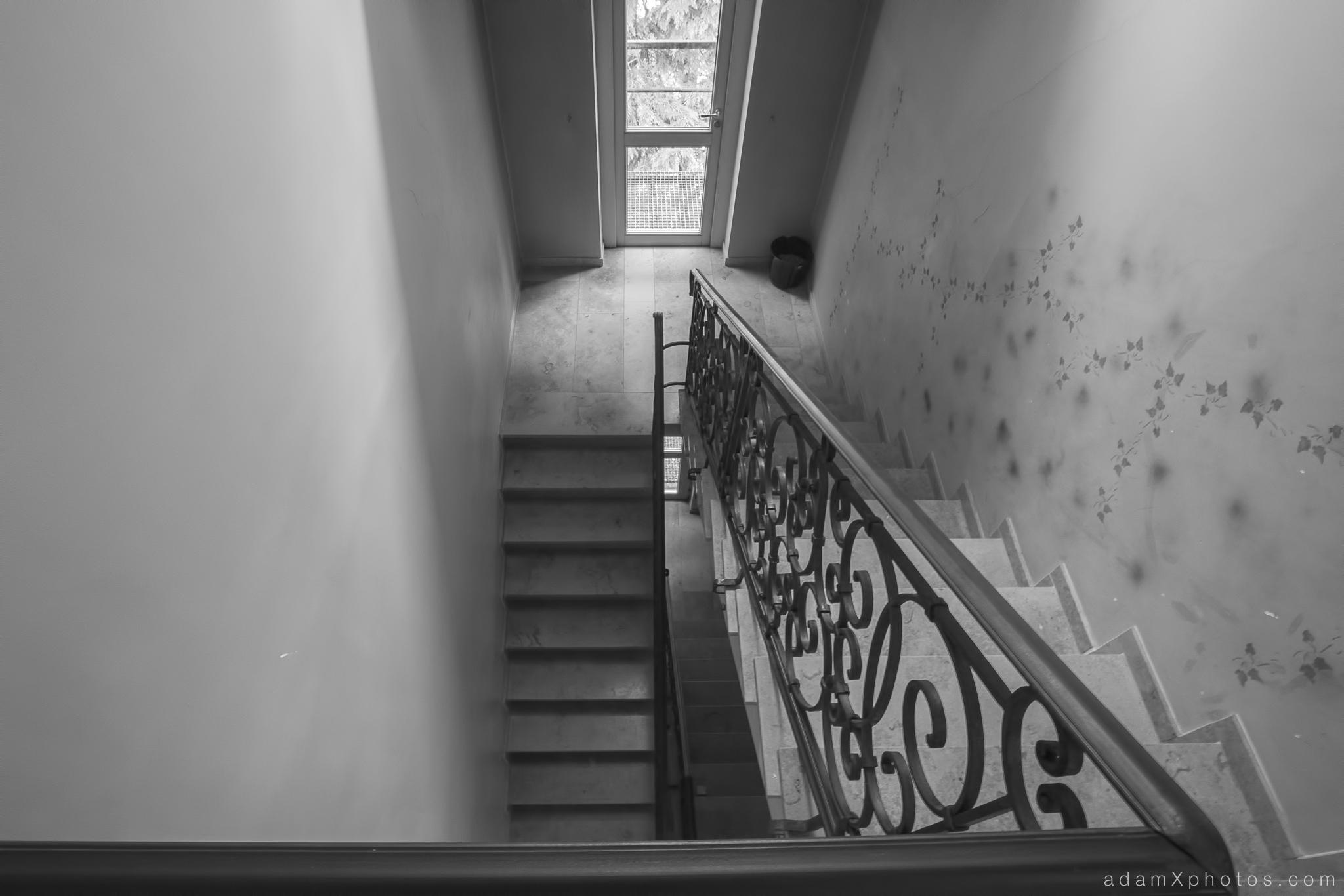 """""""Hotel Allegria"""" """"Adam X"""" Urbex Urban Exploration Belgium staircase b&w"""
