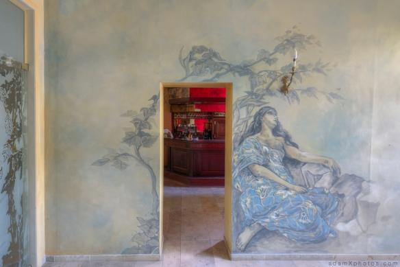 """""""Hotel Allegria"""" """"Adam X"""" Urbex Urban Exploration Belgium bar mural painting"""