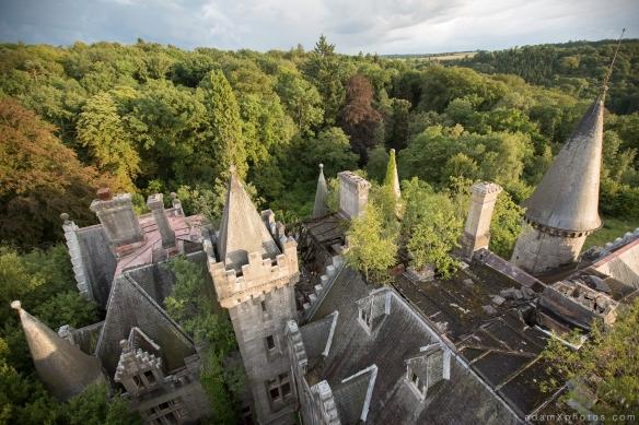 Adam X Urbex Urban Exploration Chateau Noisy Miranda roof external sunset towers outside clock tower belgium