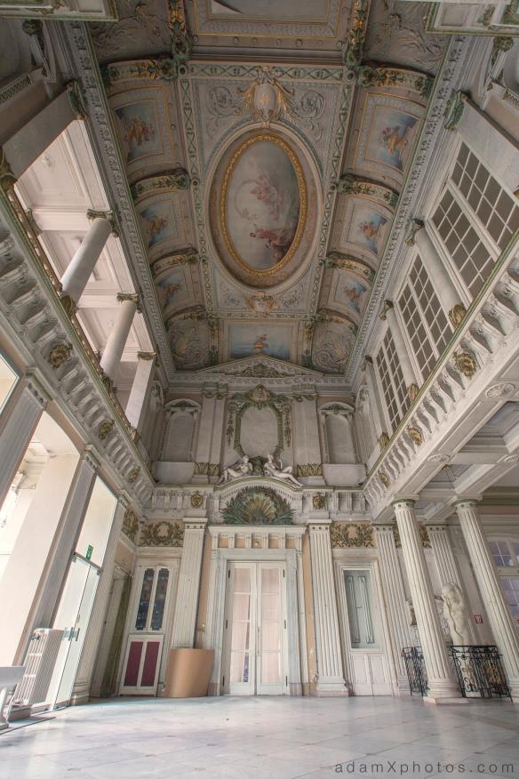 Adam X Alla Italia Belgium Urbex Urban Exploration front entrance ceiling columns lobby foyer