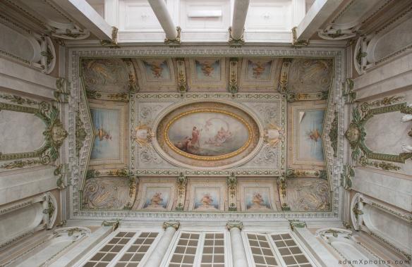 Adam X Alla Italia Belgium Urbex Urban Exploration ceiling shot looking up paintings artwork carving statues windows