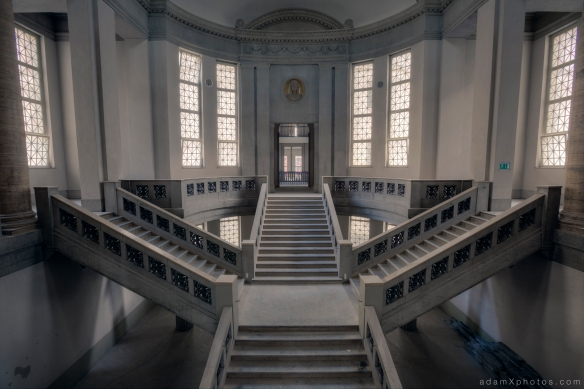 Adam X Urbex Urban Exploration Abandoned Germany Courthouse stairs staircase windows light ceiling