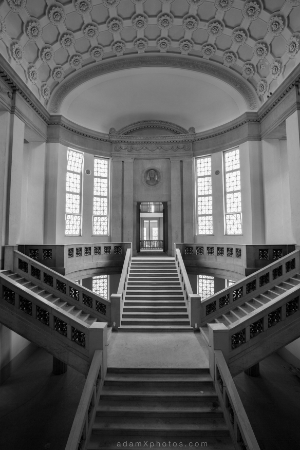 Adam X Urbex Urban Exploration Abandoned Germany Courthouse stairs staircase windows light ceiling black and white b&w
