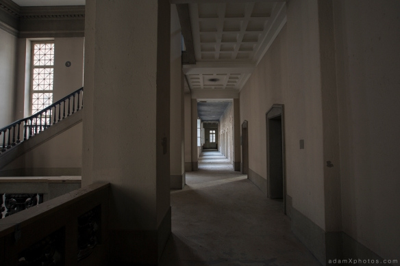 Adam X Urbex Urban Exploration Abandoned Germany Courthouse stairs staircase windows light ceiling corridor