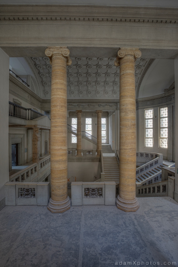 Adam X Urbex Urban Exploration Abandoned Germany Courthouse stairs staircase columns windows ceiling detail