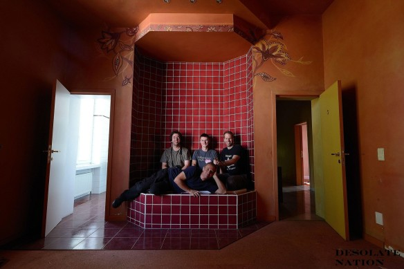 """Hotel Allegria"" ""Adam X"" Urbex Urban Exploration Belgium bedroom bath tiled Group Shot Desolate Nation"