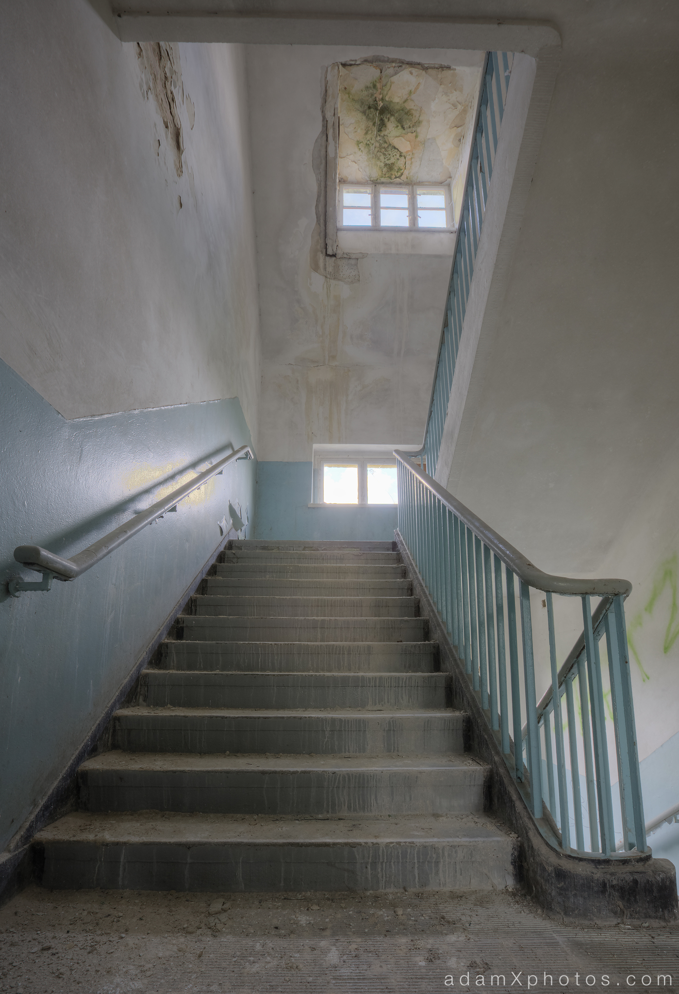 Adam X Urbex Urban Exploration Abandoned Germany Wunsdorf barracks soviet stairs stairwell decay colour textures blue