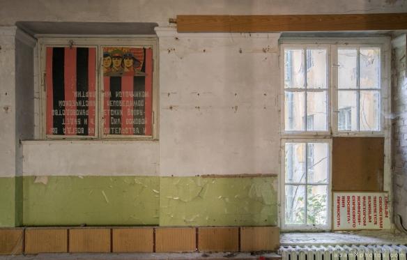 Adam X Urbex Urban Exploration Germany Juterbog School Soviet Russian Abandoned Lost Decay Mural Painting sign propaganda