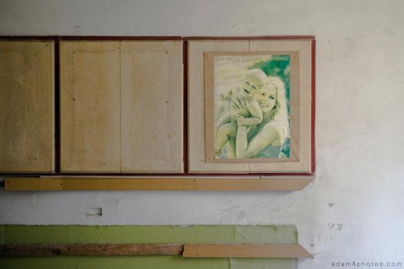 Adam X Urbex Urban Exploration Germany Juterbog School Soviet Russian Abandoned Lost Decay Poster woman baby propaganda