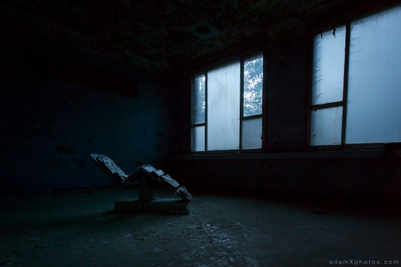 Adam X Urbex Urban Exploration Germany Blue Hospital Soviet Russian Abandoned Lost Decay Hidden chair night dark Operating medical army military