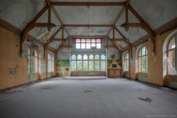 Adam X Urbex Beelitz Heilstatten Germany Urban Exploration Mens Men's Bathhouse Bath House Hospital Decay Lost Abandoned Hidden hall