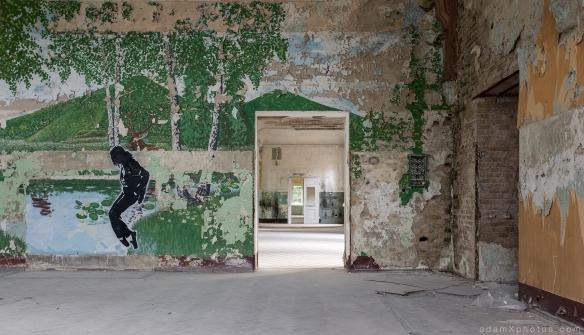 Adam X Urbex Beelitz Heilstatten Germany Urban Exploration Mens Men's Bathhouse Bath House Hospital Decay Lost Abandoned Hidden michael jackson MJ mural art painting stencil hall