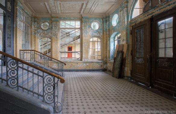 Adam X Urbex Beelitz Heilstatten Germany Urban Exploration Mens Men's Bathhouse Bath House Hospital Decay Lost Abandoned Hidden entrance hall foyer lobby reception tiles