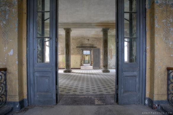 Adam X Urbex Beelitz Heilstatten Germany Urban Exploration Mens Men's Bathhouse Bath House Hospital Decay Lost Abandoned Hidden entrance tiles doors