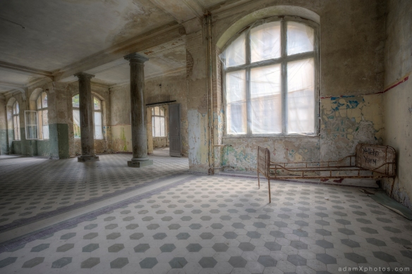 Adam X Urbex Beelitz Heilstatten Germany Urban Exploration Mens Men's Bathhouse Bath House Hospital Decay Lost Abandoned Hidden metal bed floor tiles columns