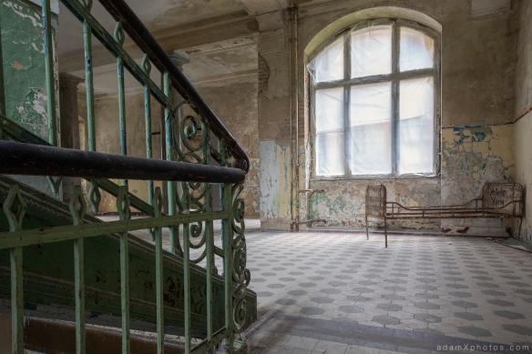 Adam X Urbex Beelitz Heilstatten Germany Urban Exploration Mens Men's Bathhouse Bath House Hospital Decay Lost Abandoned Hidden metal bed bannister stairs tiles peeling paint