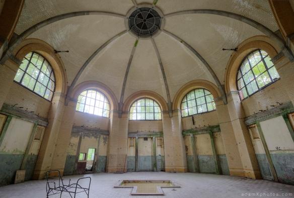 Adam X Urbex Beelitz Heilstatten Germany Urban Exploration Mens Men's Bathhouse Bath House Hospital Decay Lost Abandoned Hidden tiles