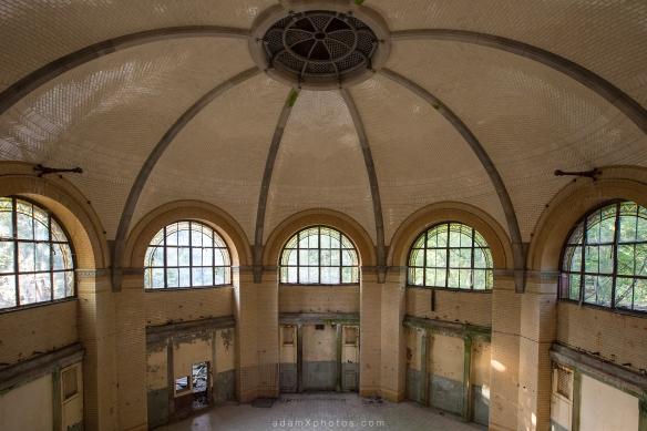 Adam X Urbex Beelitz Heilstatten Germany Urban Exploration Mens Men's Bathhouse Bath House Hospital Decay Lost Abandoned Hidden ceiling tiles
