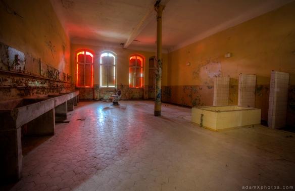 Adam X Urbex Beelitz Heilstatten Germany Urban Exploration Mens Men's Bathhouse Bath House Hospital Decay Lost Abandoned Hidden chair red room bathroom
