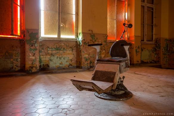 Adam X Urbex Beelitz Heilstatten Germany Urban Exploration Mens Men's Bathhouse Bath House Hospital Decay Lost Abandoned Hidden chair red room