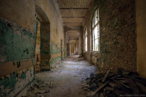 Adam X Urbex Beelitz Heilstatten Germany Urban Exploration Mens Men's Bathhouse Bath House Hospital Decay Lost Abandoned Hidden Corridor