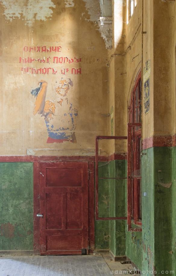 Adam X Urbex Beelitz Heilstatten Germany Urban Exploration Mens Men's Sanatorium Hospital Decay Lost Abandoned Hidden mural detail peeling paint russian soviet detail