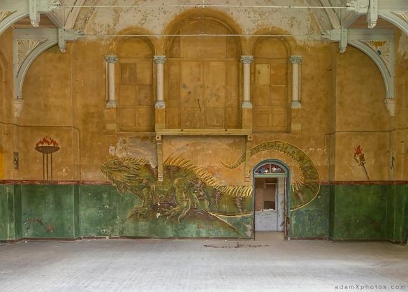 Adam X Urbex Beelitz Heilstatten Germany Urban Exploration Mens Men's Sanatorium Hospital Decay Lost Abandoned Hidden lizard dragon art mural graffiti hall
