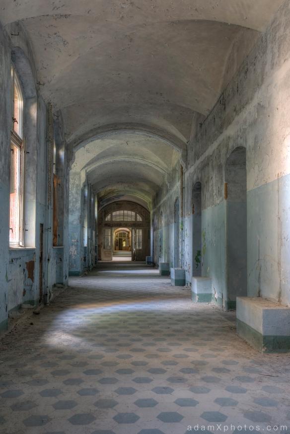 Adam X Urbex Beelitz Heilstatten Germany Urban Exploration Mens Men's Sanatorium Hospital Decay Lost Abandoned Hidden Corridor tiles colours blue