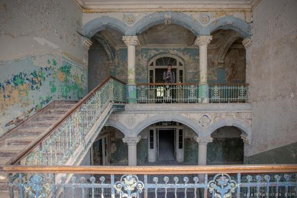 Adam X Urbex Beelitz Heilstatten Germany Urban Exploration Mens Men's Sanatorium Hospital Decay Lost Abandoned Hidden Entrance stairs staircase James Kerwin Photographic portrait