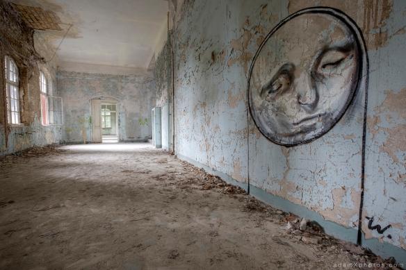 Adam X Urbex Beelitz Heilstatten Germany Urban Exploration Mens Men's Sanatorium Hospital Decay Lost Abandoned Hidden art mural graffiti moon face peeling paint