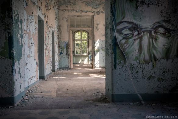Adam X Urbex Beelitz Heilstatten Germany Urban Exploration Mens Men's Sanatorium Hospital Decay Lost Abandoned Hidden Mural face painting