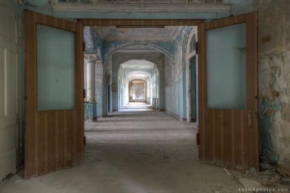 Adam X Urbex Beelitz Heilstatten Germany Urban Exploration Mens Men's Sanatorium Hospital Decay Lost Abandoned Hidden Corridor Mural Graffiti