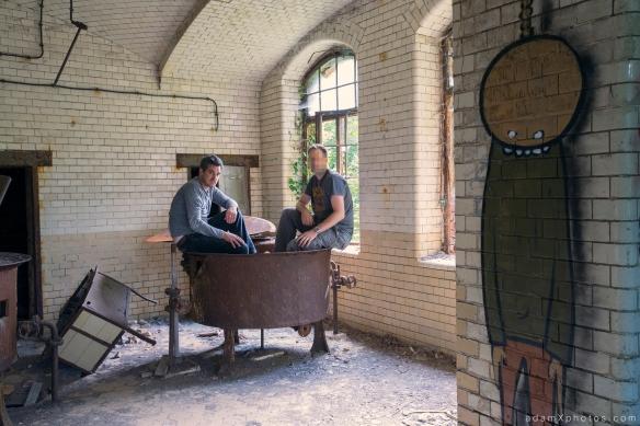 Adam X Urbex Beelitz Heilstatten Germany Urban Exploration Hospital Decay Lost Abandoned Hidden Butcher Bakery laundry James Kerwin Selfie vat metal tubs