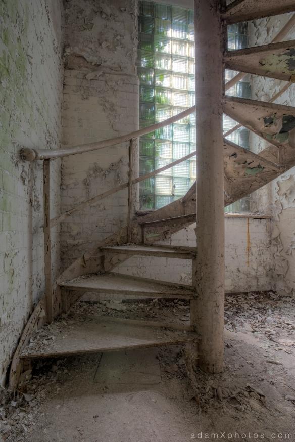 Adam X Urbex Beelitz Heilstatten Germany Urban Exploration Hospital Decay Lost Abandoned Hidden Butcher Bakery laundry spiral stairs staircase