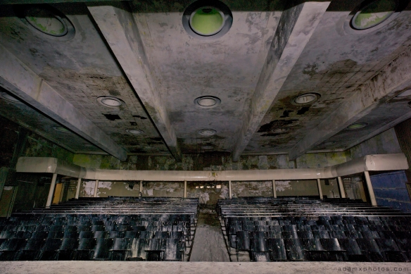 Adam X Urbex Altes Lager Juterbog Germany Urban Exploration Air base flight school CCCP Soviet Russian military Decay Lost Abandoned Derelict Hidden Auditorium stage seats hall light painting dark