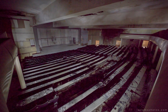 Adam X Urbex Altes Lager Juterbog Germany Urban Exploration Air base flight school CCCP Soviet Russian military Decay Lost Abandoned Derelict Hidden Auditorium hall light painting dark
