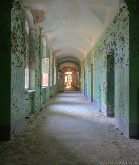 Adam X Urbex Beelitz Heilstatten Germany Urban Exploration Womens Women's Sanatorium Hospital Decay Lost Abandoned Hidden corridor stairs peeling paint peely green