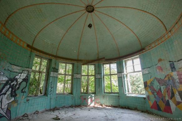 Adam X Urbex Beelitz Heilstatten Germany Urban Exploration Lung clinic Sanatorium Hospital Decay Lost Abandoned Hidden treatment room ornate tiled ceiling