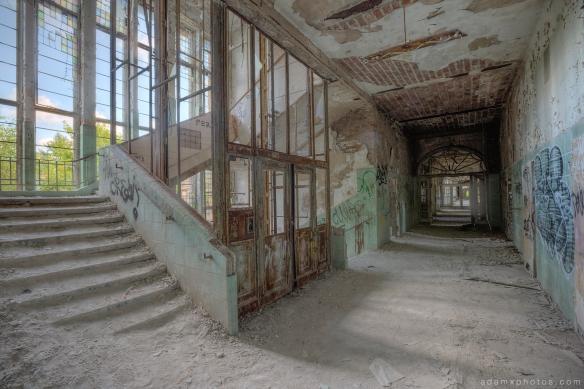 Adam X Urbex Beelitz Heilstatten Germany Urban Exploration Lung clinic Sanatorium Hospital Decay Lost Abandoned Hidden corridor stairs staircase elevator lift