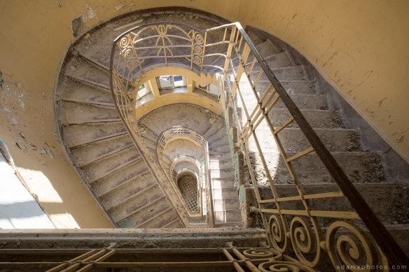 Adam X Urbex Heilstatten Hohenlychen Germany Urban Exploration Decay Lost Abandoned Hidden stairs staircase treppe spiral