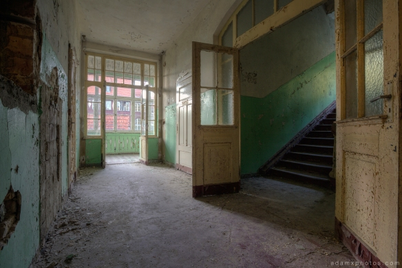 Adam X Urbex Heilstatten Hohenlychen Germany Urban Exploration Decay Lost Abandoned Hidden corridor stairs window