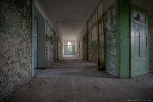 Adam X Urbex Heilstatten Hohenlychen Germany Urban Exploration Decay Lost Abandoned Hidden corridor peeling paint green