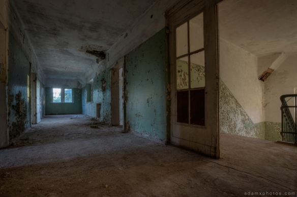 Adam X Urbex Heilstatten Hohenlychen Germany Urban Exploration Decay Lost Abandoned Hidden stairs staircase corridor window peeling paint sanatorium