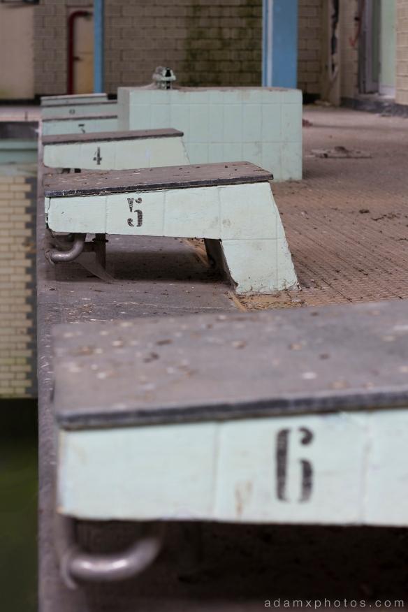 Diving blocks detail pool Adam X Urbex UE Urban Exploration Belgium Piscine Crachoir swimming pool abandoned derelict unused empty disused decay decayed decaying grimy grime