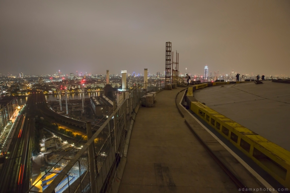 Adam X Urbex UE Urban Exploration London Rooftops High Night Photo Photography Skyline Battersea Gas Holders Gasometer roof explorers battersea power station BPS trains station