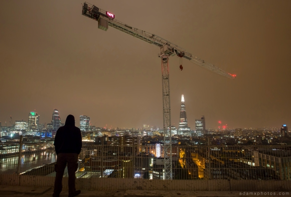Adam X Urbex UE Urban Exploration London Rooftops High Night Photo Photography Skyline THM crane south bank thames shard walkie talkie st pails cathedral selfie