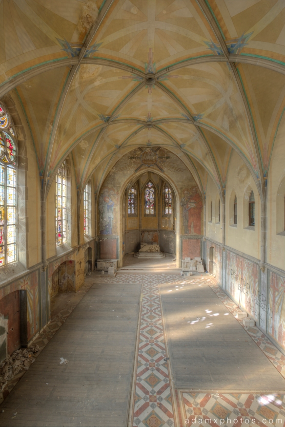 Upstairs balcony view of chapel Adam X Urbex UE Urban Exploration Germany Kent School Saint Sint St Jozefsheim chapel church abandoned derelict unused empty disused decay decayed decaying grimy grime
