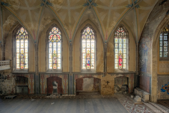 Side view stained glass windows ornate Adam X Urbex UE Urban Exploration Germany Kent School Saint Sint St Jozefsheim chapel church abandoned derelict unused empty disused decay decayed decaying grimy grime