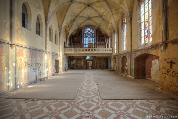 View from the altar Adam X Urbex UE Urban Exploration Germany Kent School Saint Sint St Jozefsheim chapel church abandoned derelict unused empty disused decay decayed decaying grimy grime